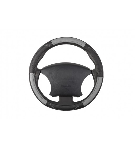 cubre volante en piel gris con negro
