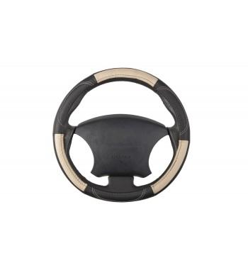 cubre volante en piel beige con negro